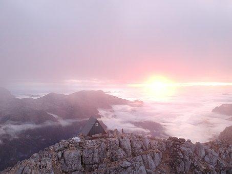 Mountains, Clouds, Sunrise, Sunset, Peak, Cottage, Hut