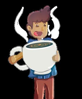 Man, Coffee, Cup, Happy, Smile, Tea, Sleepy, Comic