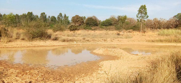 Deserted, Dry Land, Pond, Water, Reflection, Land