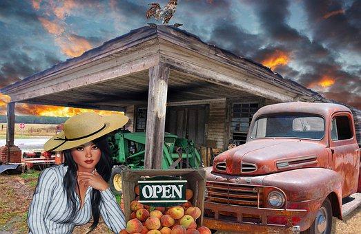 Fruit Stand, Girl, Roadside, Retail, Pretty, Female