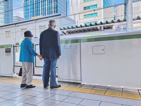 Elderly Couple, Holding Hands, Husband And Wife, Japan