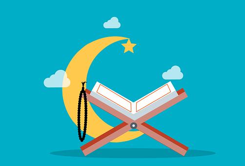 Quran, Book, Ramadan, Moon, Clouds, Islamic, Holy