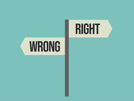 Right, Wrong, Right Or Wrong, Choose, Signpost, Sign