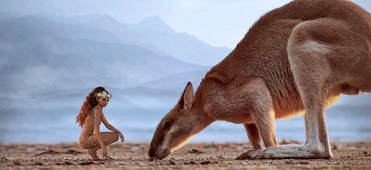 Fantasy, Girl, Animal, Kangaroo, Surreal, Landscape
