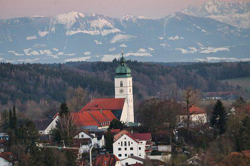 Town, Church, Mountains, Buildings, Bell Tower, Tower