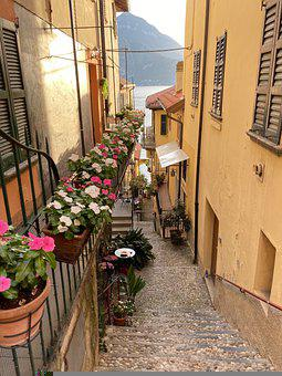 Road, Alley, Street, Flowers, Lake Como, Italy, Summer