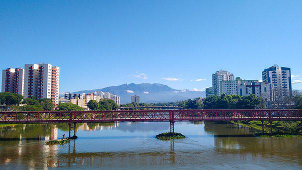 Bridge, River, Town, Buildings, Mountain, Reflection