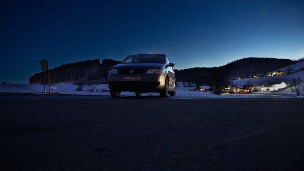 Road, Car, Town, Evening, Volkswagen, Auto, Automobile