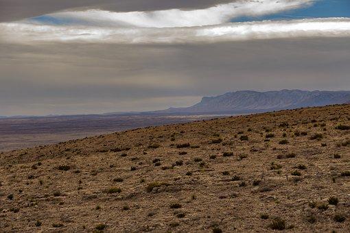 Desert, Land, Clouds, Sky, Mountain, Dry Land, Arid