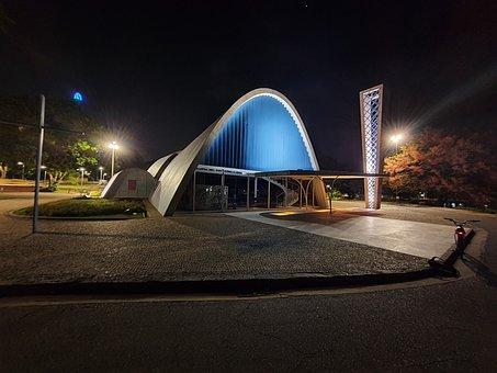 Pampulha, Church, Night, Lights, Building, Architecture