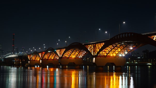 River, Bridge, Lights, Han River, A Night View Of Seoul