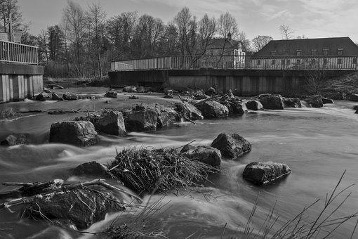 Town, River, Monochrome, Rocks, Fish Ladder, Bach
