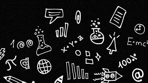 Science, Doodle, Background, Education, Chalk