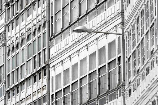 Buildings, Facade, Monochrome, Windows, Street Light