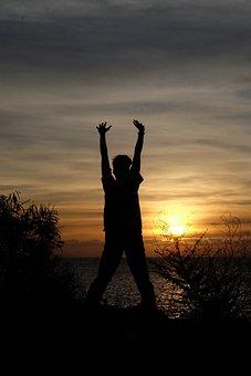 Man, Freedom, Sunset, Silhouette, Beach, Happy, Gesture