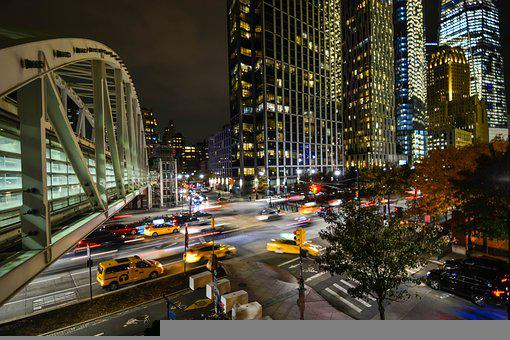 Streets, Traffic, Buildings, City Lights, Architecture
