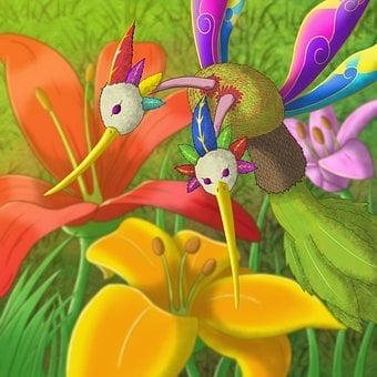 Fantasy, Insect, Flowers, Creature, Bird, Flying