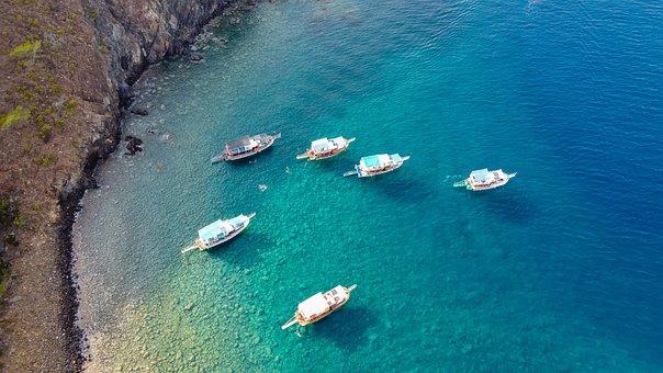 Sea, Turkey, Boat, Drone, Antalya, Sunny, Boats, Coast