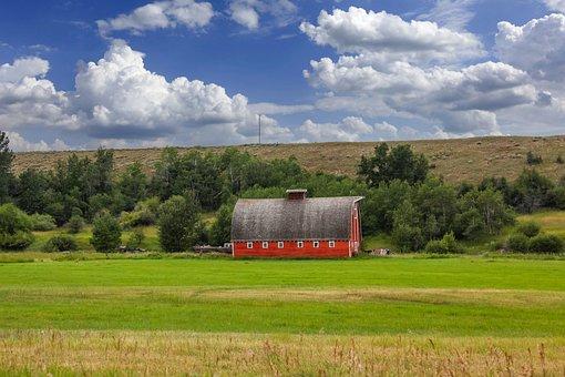 Barn, Farm, Countryside, House, Building, Field, Hill