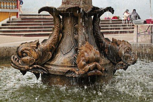 Fountain, Sculpture, Fish, Water, Flow, Water Drops