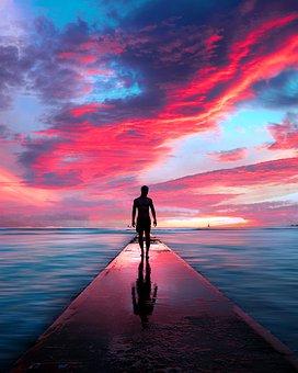 Man, Beach, Couple, Sea, Ocean, Water, Alone, Freedom