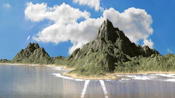 Island, Blender, Fictitious, Sea, Clouds, Mountain