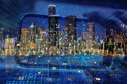 Smartphone, City, Network, Buildings, Skyline, Binary