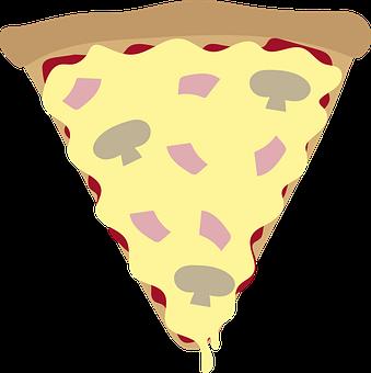 Pizza, Slice, Food, Portion, Cheese, Mushroom, Ham