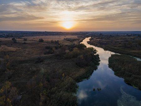 Drone, Ukraine, River, Sunset, Sky, Horizon, Landscape
