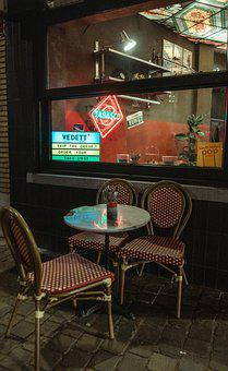Bar, Restaurant, Beer, Terrace, Chair, Table, Neon