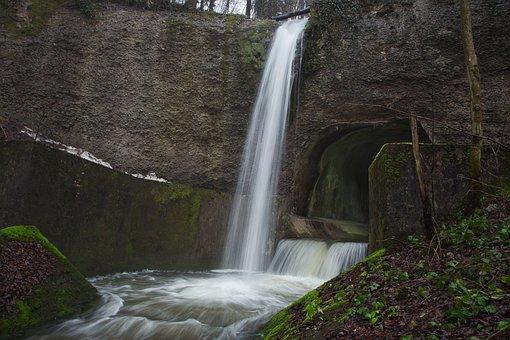 Waterfall, Bach, Long Exposure, Creek, Rock, Rock Wall