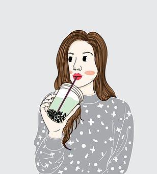 Woman, Drink, Cup, Beverage, Milk Tea, Bubble Tea