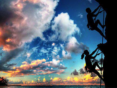 Sunset, Silhouettes, Dusk, Couple, Landscape, Freedom