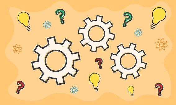 Gears, Question Mark, Science, Innovation, Light Bulb