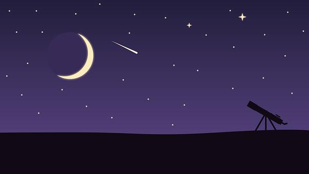 Stars, Landscape, Telescope, Moon, Meteor, Meteorite