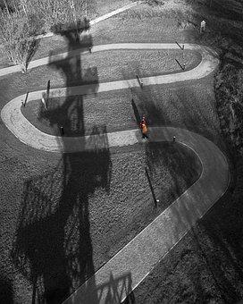 Park, Path, Curved, People, Walk, Stroll, Shadow