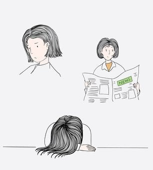 Woman, Lifestyle, Home, Sad, Tired, Newspaper, Reading