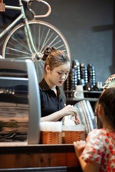 Woman, Barista, Coffeeshop, Counter, Service, Work, Job