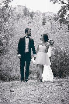 Wedding, Couple, Monochrome, Happy, Bride, Groom, Man
