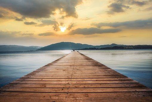 Dock, Lake, Sunset, Jetty, Sun, Sunlight, Water