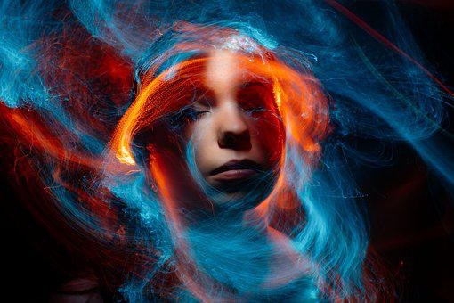 Woman, Face, Eyes, Dust, Light, Abstract, Astral