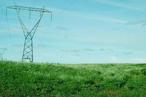 Tower, Electrical Tower, Wires, Cables, Field, Meadow