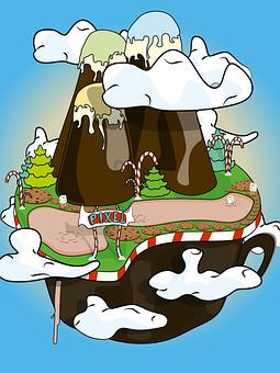 Island, Ice Cream, Fantasy, Floating, Sky, Sweets
