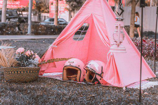 Tent, Helmets, Flowers, Basket, Pink, Pastel, Outdoors