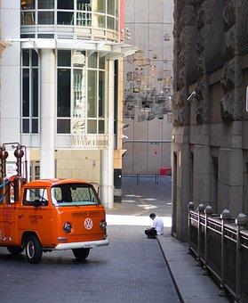 Van, Man, Street, Vehicle, Sitting, Alone, City