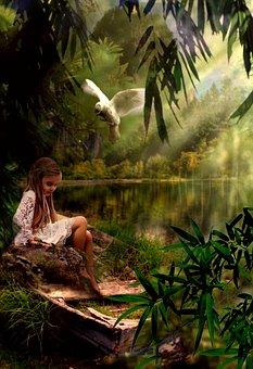Gadis Kecil, Duduk, Bermain, Perahu Tua, Bangkai Perahu