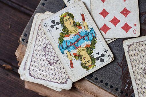 Playing Cards, Old Book, Vintage, Queen Of Clubs, Cards