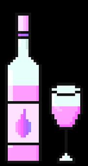 Wine, Bottle Of Wine, Wine Glass, Pink, Kawaii, Cute