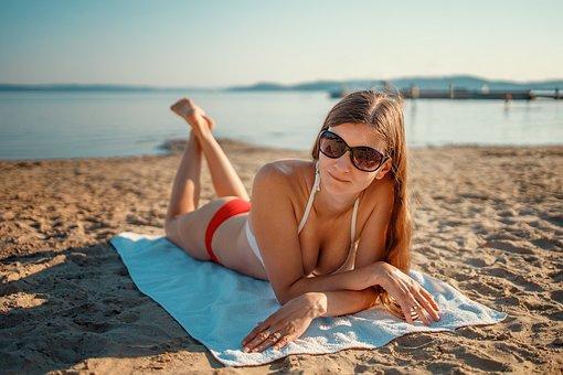 Woman, Sunbathing, Beach, Bikini, Summer, Vacation