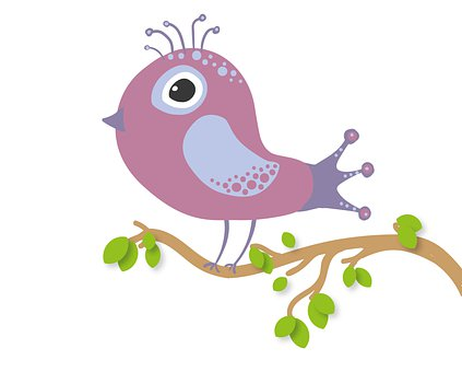 Bird, Branch, Cartoon, Perched, Animal, Songbird